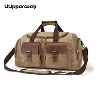 1f4b99e2982ae Vintage wojskowy płótno torba podróżna dla mężczyzn duża pojemność z przodu  2 kieszenie bagażu torby męskie weekendowa dnia na dzień duffle ramię.  Vintage ...