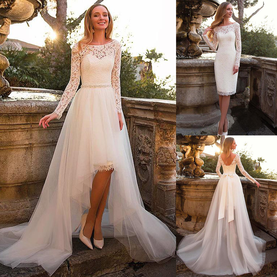 Tulle & Lace Bateau Neckline 2 In 1 Wedding Dress With Belt & Detachable Skirt Two Pieces Long Sleeves Bridal Dress