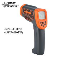SMART SENSOR AT1150 Laser LCD Digital Infrared Thermometer Temperature Meter Gun Point -18~1150℃ Non-Contact Thermometer smart sensor digital infrared thermometer 18 1350c 58 2282f ar872 ir laser point gun non contact infrared thermometer