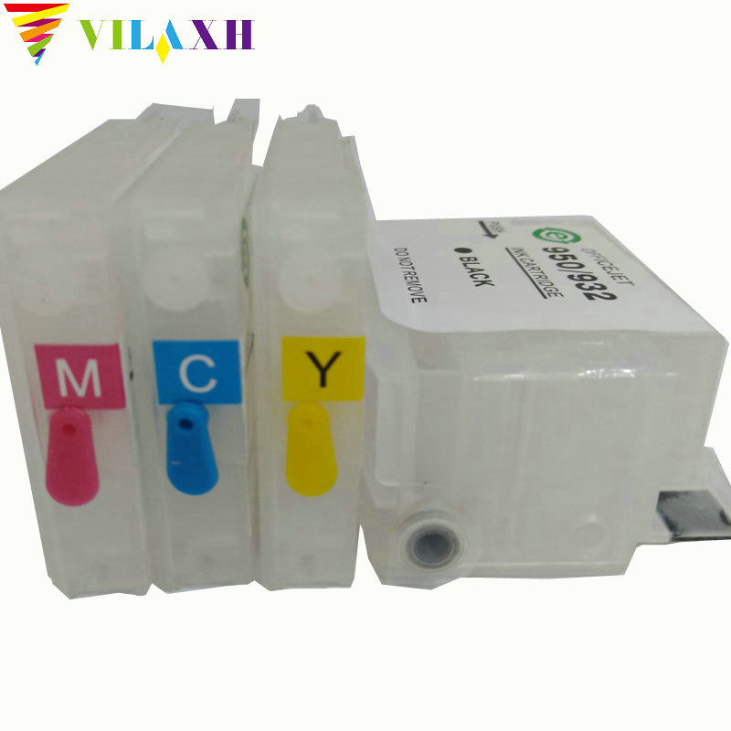 Vilaxh Cartridge 932 933 Refillable Cartridge ersättning för hp 932 933 932xl 933xl Officejet 6100 6600 6700 7110 7610 skrivare