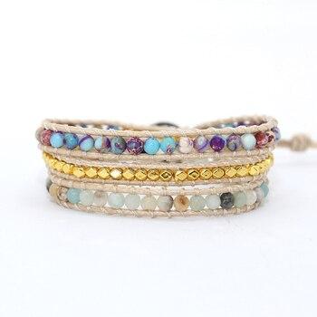 Bohemia Vintage Unique Natural Stone turquoises Charm 3Strands Wrap Bracelets Handmade 4
