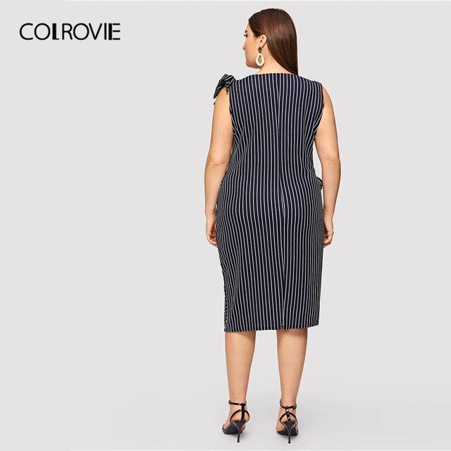 COLROVIE Plus Size Navy Striped Bow Waist Split Elegant Dress Women Clothing 2019 Summer Sleeveless Straight Party Midi Dresses 1