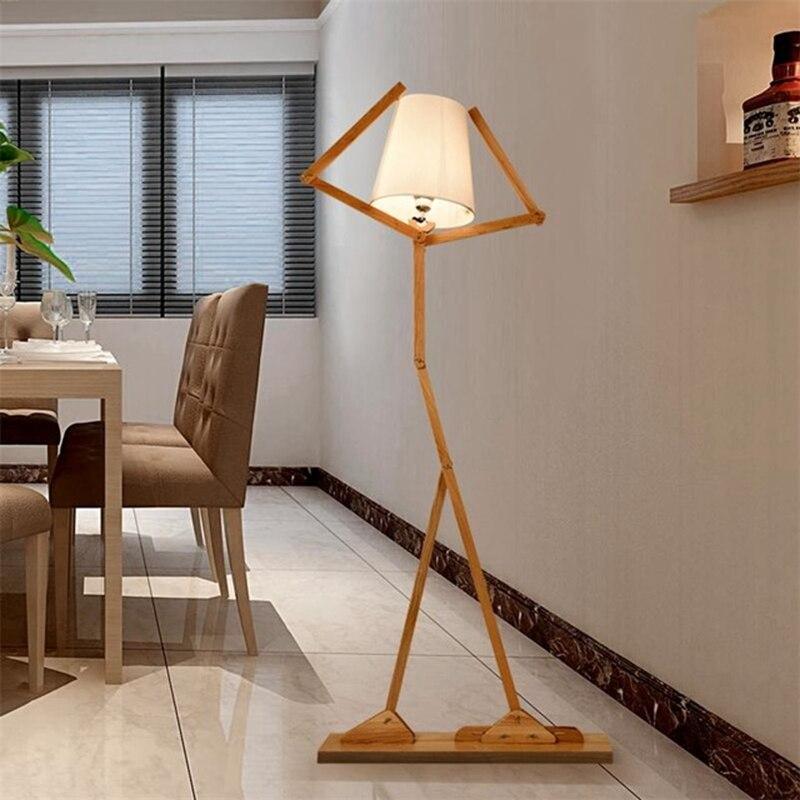 Japanischen Stil Kreative DIY Holzboden Lampen Nordic Holz Stoff Stehen Licht Fur Wohnzimmer Schlafzimmer Studie Art Deco Beleuchtung In