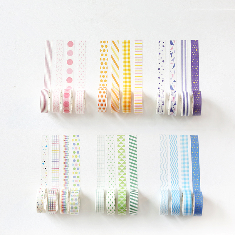 4 Pcs Rainbow Color Washi Tapes Set 15mm*7m Decorative Masking Tape Pink Blue Prints Sticker Stationery School Supplies F871