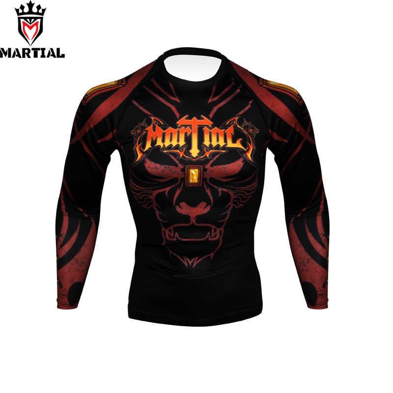 Martial : Hear me roar printed full sleeve rashguards fitness mma grappling  jersey RASHGUARDS bjj shirts