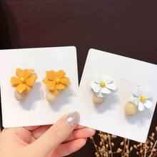 Orange White Resin Flower Pendant Earrings For Women 2019 New Personality Statement pendientes Jewelry