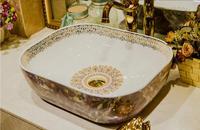 Bathroom ceramic countertop Vessel sink Rectangular Cloakroom washbasin Hand made art basin LGQ043 2
