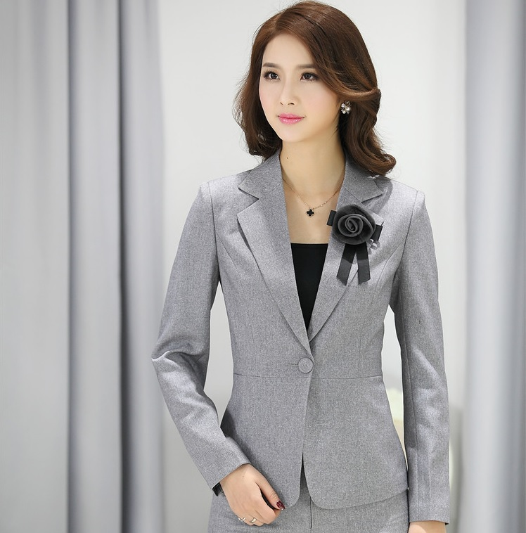 Aliexpress.com : Buy Elegant Grey Fashion Female Blazers Uniforms ...
