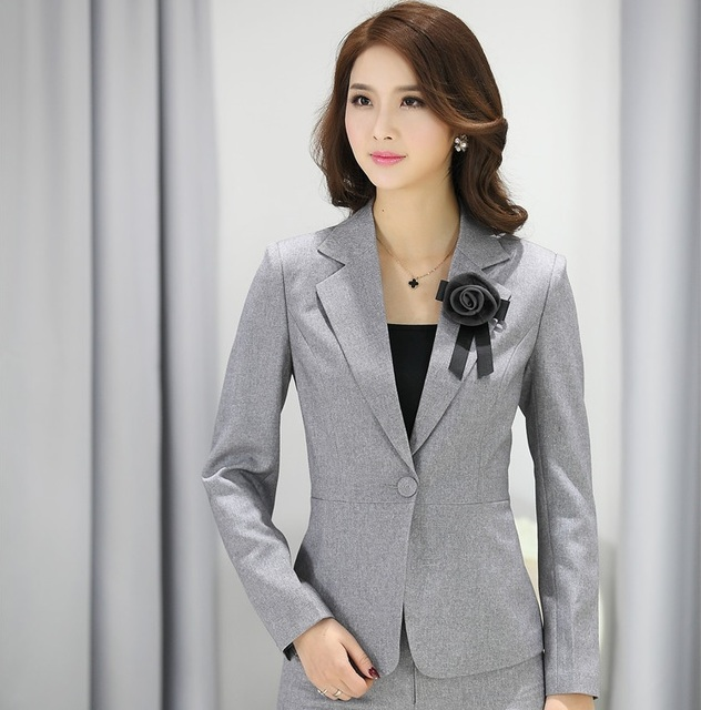 04ed4377708 Elegant Grey Fashion Female Blazers Uniforms Office Ladies Work Wear Tops  Jackets Business Blazer Coat Spring