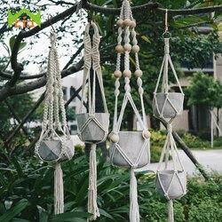 WCIC 90cm noué macramé plante cintre Vintage coton lin fleur Pot panier levage corde Pot support jardin outil suspendu panier