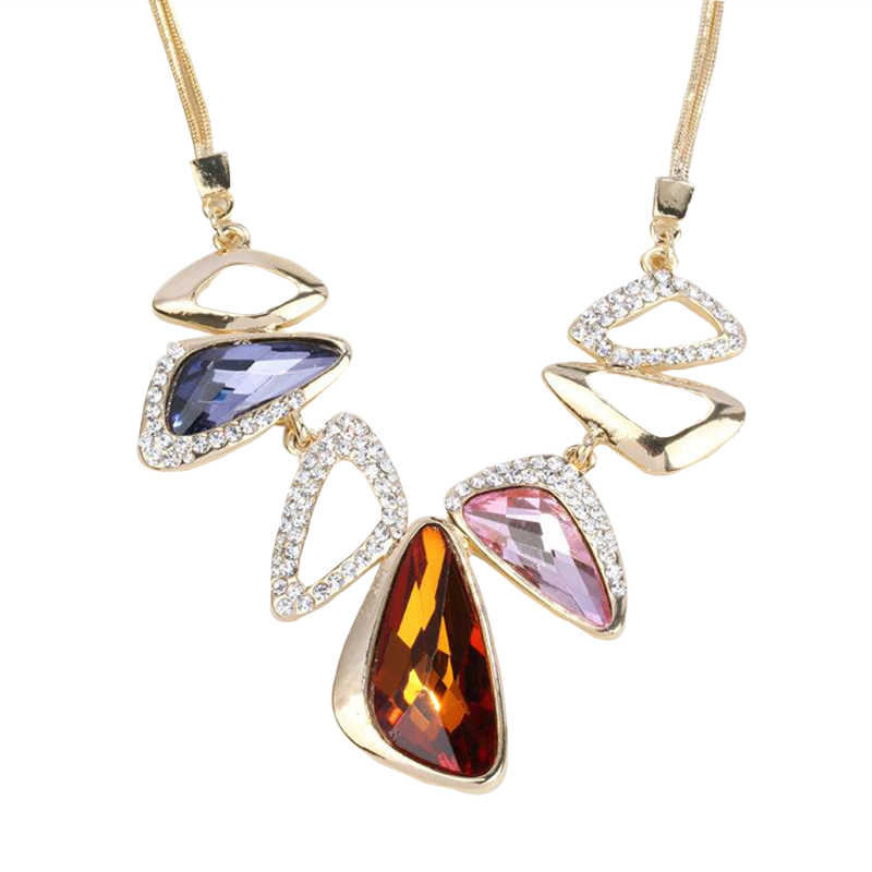 Hyperbole Big Necklaces & Pendants For Women Vintage Punk Geometric Crystal Pendant Necklace Classic Gold-Color Fine Jewelry