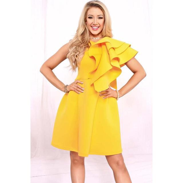 Gelb party kleid
