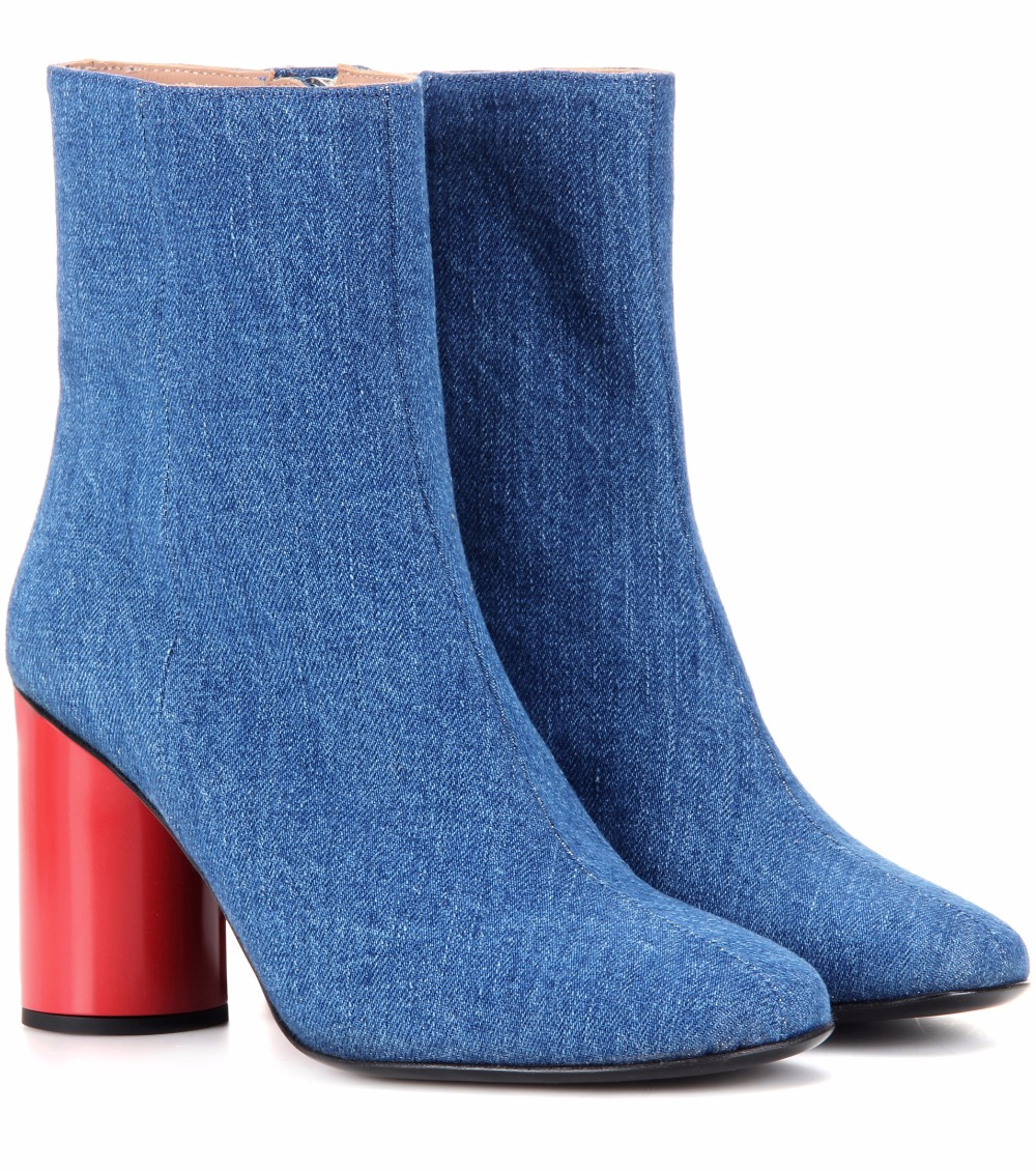 ФОТО 2017 New Arrival Blue Denim Boots Square Toes Red Chunky Heel Ankle Boots For Women Comfort Spring Autumn Shoes Zipper Booties