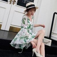 Оригинал 2018 бренд роковой весна осень белый пояс мода v образным вырезом чешские короткое платье с цветочным рисунком женская обувь оптом