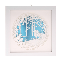DIY 3D Laser Cut Painting with Frame Wedding Decoration Paper Engraving Picture Wall Gift Room Decorative Painting 24x24cm