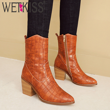 WETKISS Snake Skin Pu Western Ankle Boots Women Cuban Heel High Booties Pointed Toe Shoes Female Emboss Shoes Ladies Winter 2019