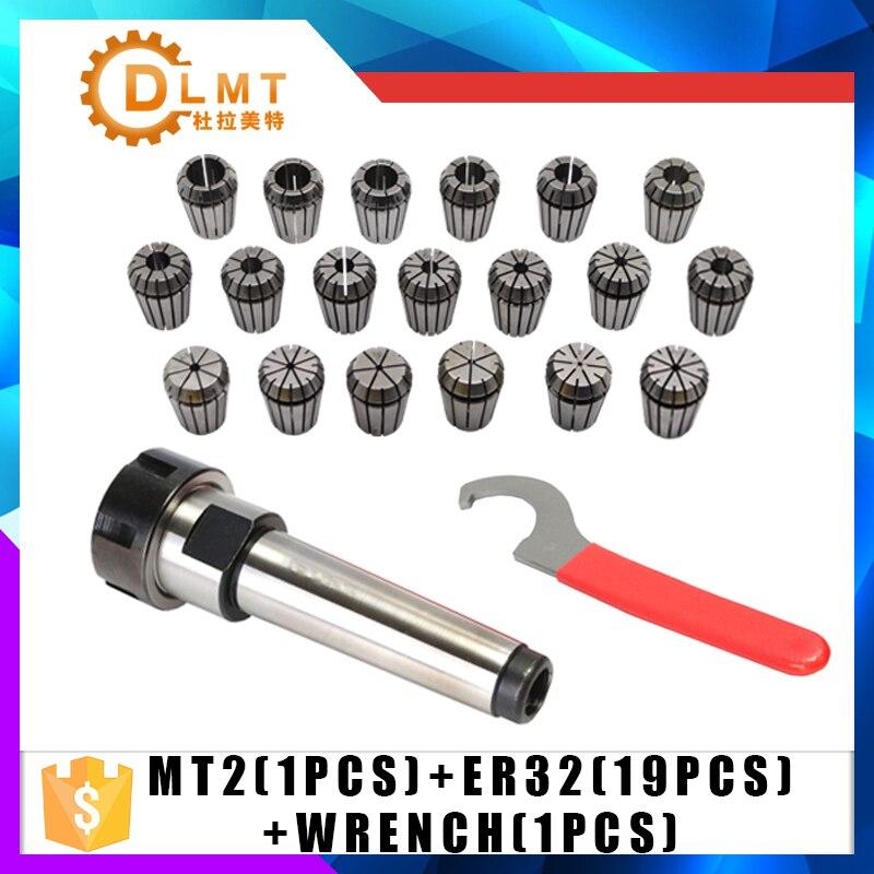 ER32 Spring Clamps 19PCS MT2 ER32 M12 1PCS ER32 Wrench 1PCS Collet Chuck Morse Holder Cone For CNC Milling Lathe tool 1pcs mt3 m12 er32 collet chuck morse taper holder with 9pcs er32 spring collets for cnc lathe milling tool