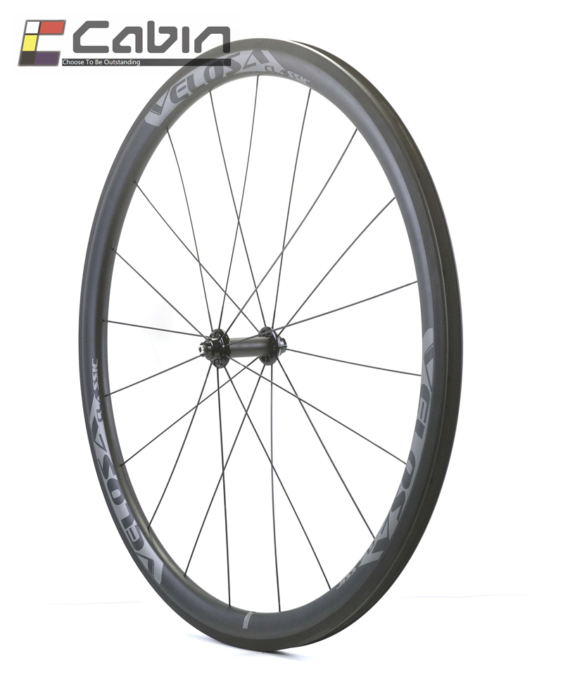 Velosa RACE classic bike carbon clincher/tubular front wheel, light weight 700C road bike wheel with Pillar 1420 spokes