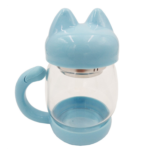 Cute Glass Water Coffee Kettle shaped Bottle With Filter 420ML 4