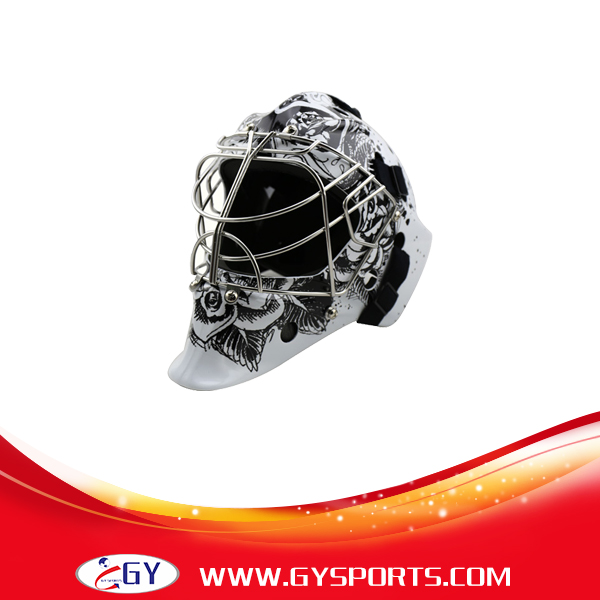 printing decal carbon  ice hockey goalie helmet with stainless steel cage 304 colorful shell free shipping