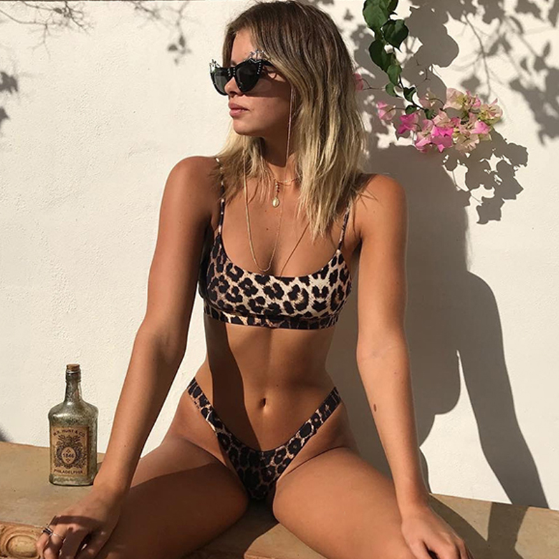 Brazilian/Thong Bikinis Mujer 2019 Sexy Bathing Suit Leopard/animal Print Bikini Push Up Swimsuit Women Swimwear Female Biquini Купальник