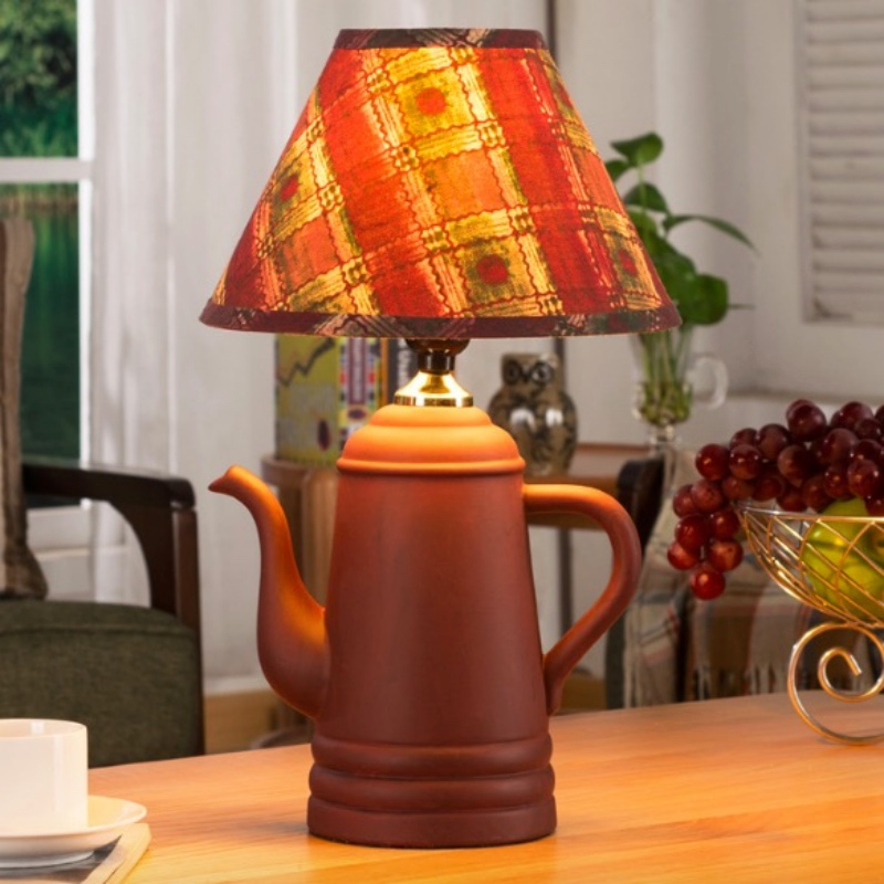 Creative Handmade Cottage Chinese Ceramic Tea Pot Led E27 Table Lamp for Restaurant Tea House Bar Decor H 40cm 1757