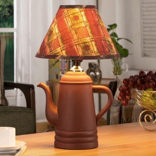 Creative Handmade Cottage Chinese Ceramic Tea Pot Led E27 Table Lamp For  Restaurant Tea House Bar