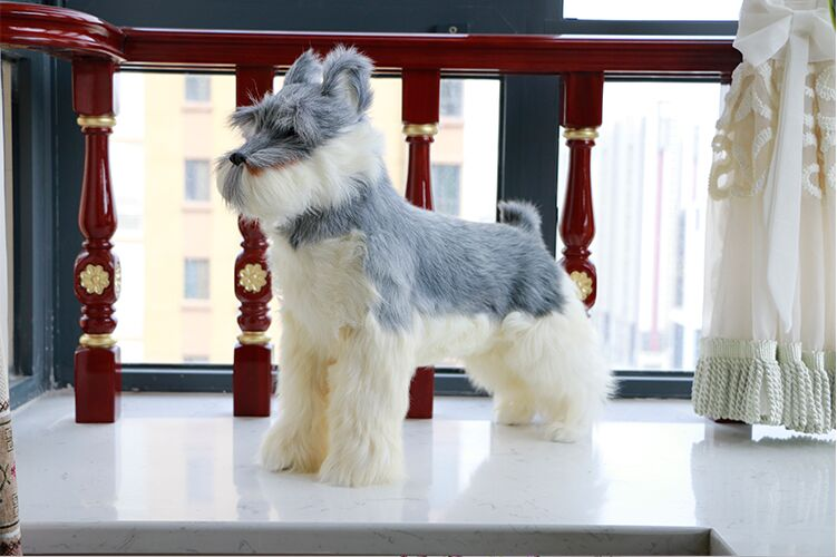 simulation Schnauzer hard model prop plastic&furs gray Schnauzer dog large 45x15x42cm,home garden decoration toy gift s2683 large 42x80cm simulation dove model toy plastic foam