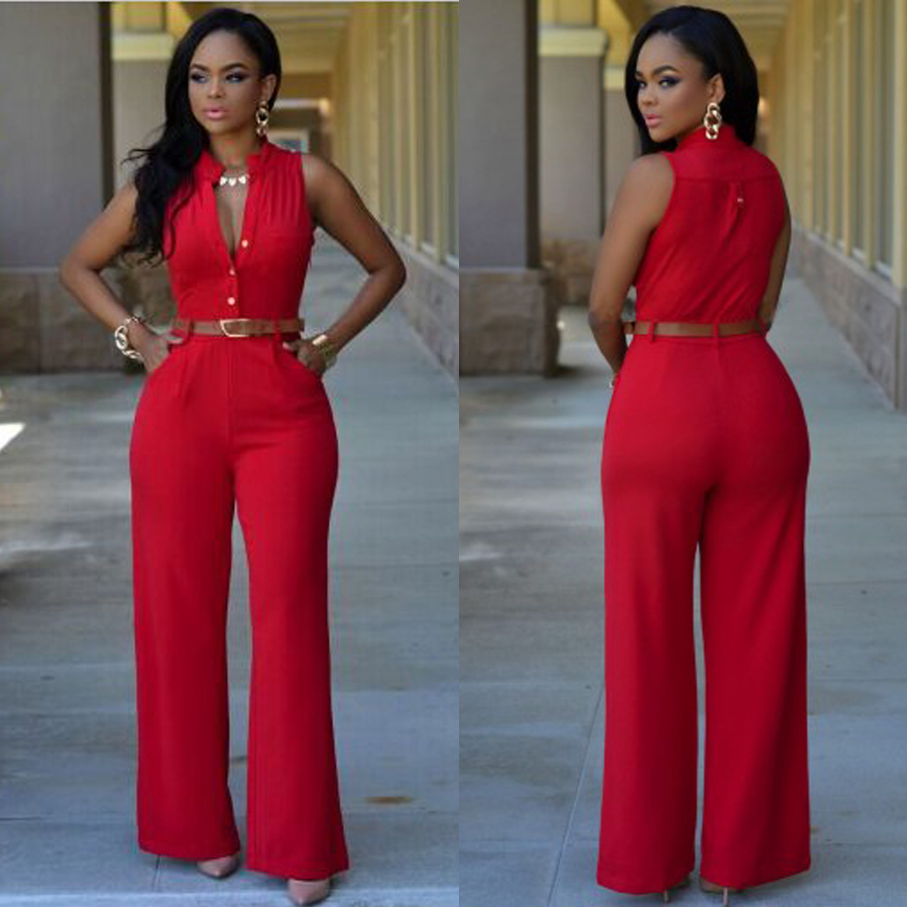 2017 Enteritos Mujer Jumpsuit Solid Top Fashion Polyester Straight Playsuit Color T-shirt Sleeveless Conjoined Pants Suit
