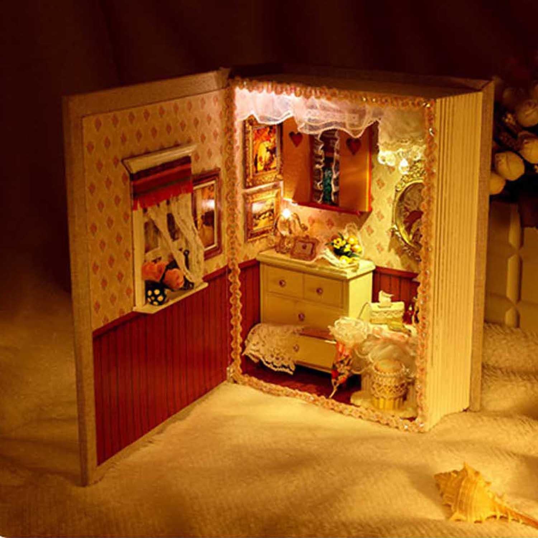 Дневник Стиль DIY ручной работы светодиодный голосовой освещения мини кукольный домик ми ...