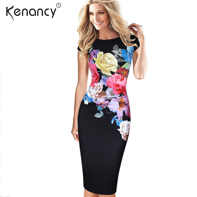 f603fdb3f21 Kenancy 3XL Plus Size 2 Colors Floral Flower Ruched Dress Women Party  Office Slim Sheath O-Neck Sleeveless Vestidos Elegant