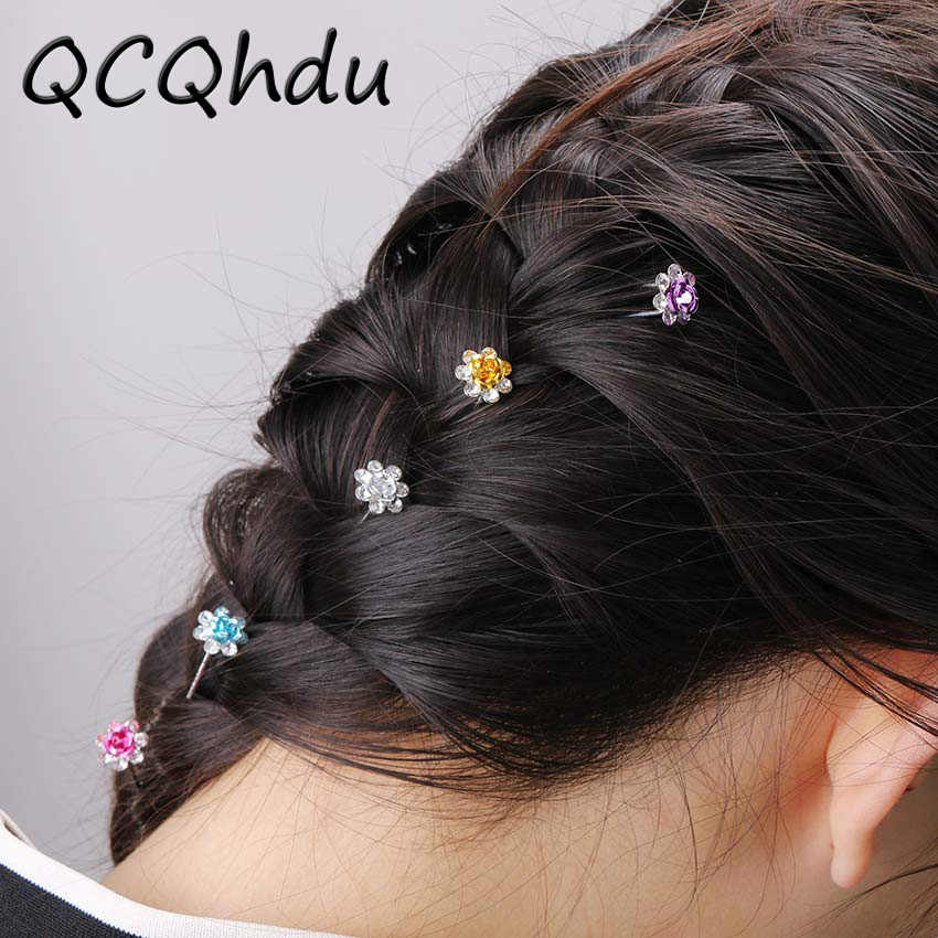 20PCS Women Wedding Bridal Hairpins Crystal Rhinestone Rose Flower Hairpin Hair Clips Hair Jewelry Accessories