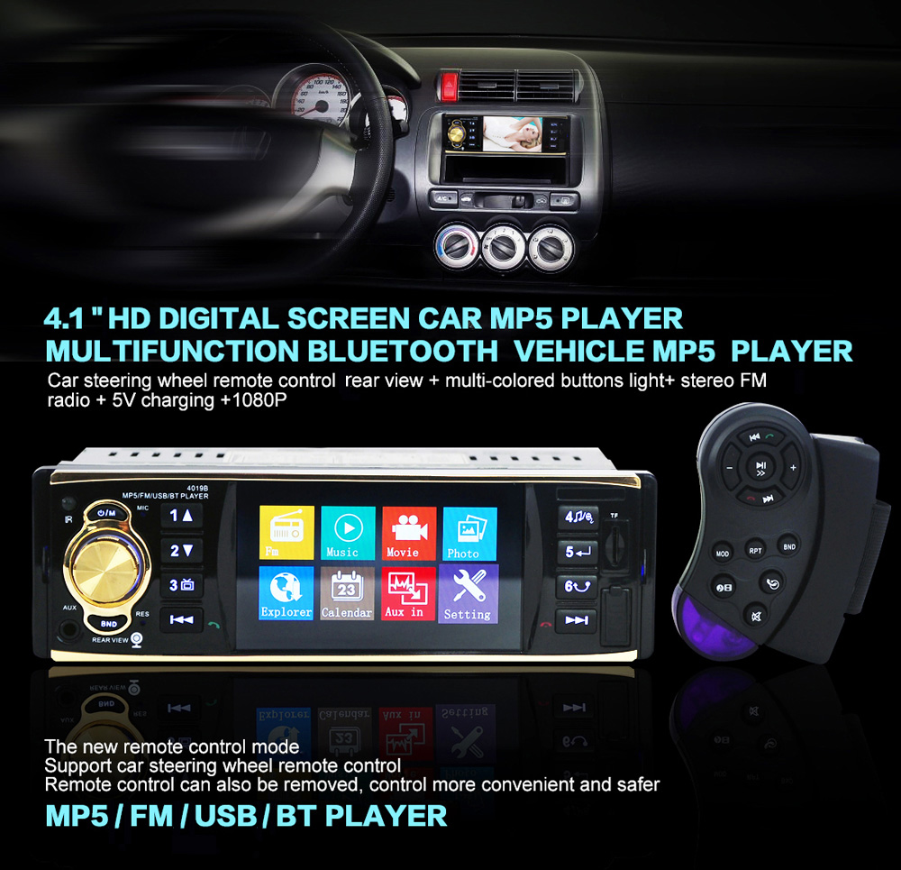 Hot 4019B 4.1 inch 1 Din Car MP5 Multimedia Player Stereo Audio Car Video USB AUX FM Radio Station With Camera Remote Control fm stereo radio multimedia speaker classical handmade bamboo radio station mucis player portable radio fm remote control y4113o
