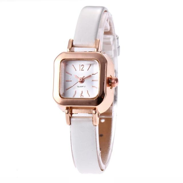 Vintage Square Dial Women Quartz Solid Color Faux Leather Strap Wrist Watch