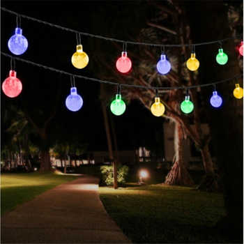 New 50 LEDS 10M Solar Lamp Crystal Ball LED String Lights Waterproof Fairy Garland For Outdoor Garden Xmas Wedding Multi Color