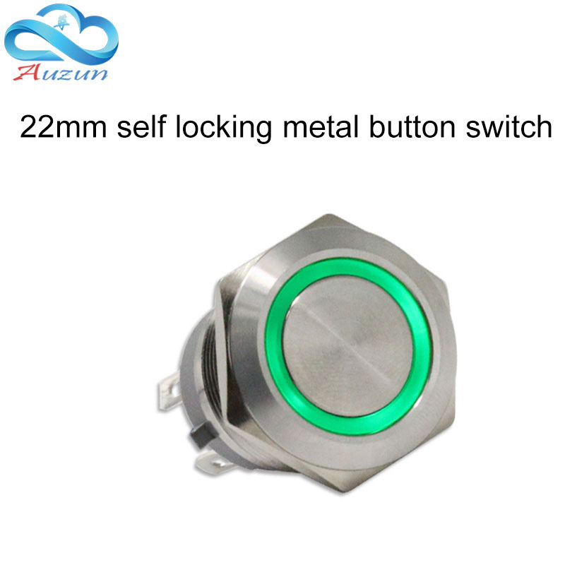 22 mm self-locking metal button short of large current 5A ring button 6V12V24V220V stainless steel red blue green white 1pcs 22mm 25mm size self locking self healing stainless steel metal button switch waterproof c type 15a high power current