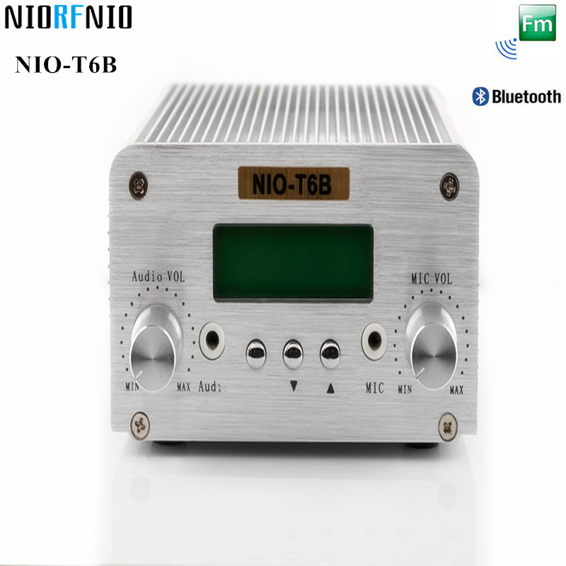 Free Shipping Hot Selling Bluetooth and PC Control NIO-T6B 6W FM Transmitter Professional Mini Hifi Amplifier 2017 new technology free shipping 1w 6w wireless mini power radio broadcast nio t6b pll fm transmitter with pc control