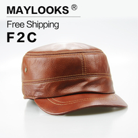 Maylooks של גברים חם מכירת עור אמיתי כובעי כובעים לגברים חאקי קלאסי אופנה כובעי קיץ כובע צבאי גברים עור רכים CS01