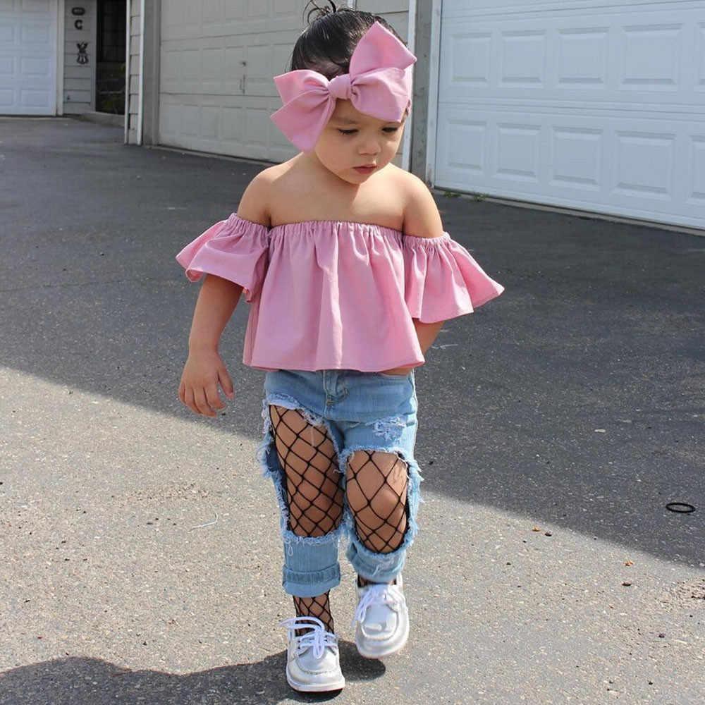 Дети для маленьких девочек с открытыми плечами футболка с оборкой топы летней одежды для школы, одежда на каждый день, с поясом для маленьких девочек Повседневная одежда