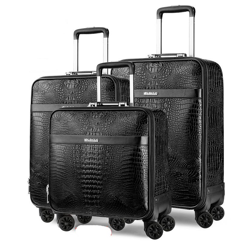 LeTrend Retro Crocodile Rolling Luggage Spinner Men Business Trolley Suitcase Wheels 16 inch PU Leather Cabin