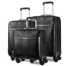 LeTrend Ретро Крокодил сумки на колёсиках Spinner для мужчин бизнес тележка чемодан колеса 16 дюймов из искусственной кожи кабина дорожная сумка багажник
