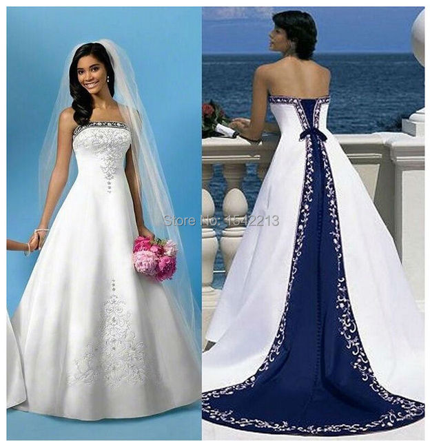 White And Royal Blue Wedding Dress Embroidery Long Train Beach