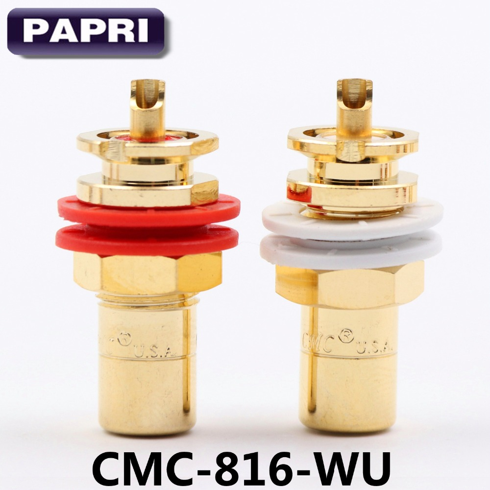 10PAIRS OFC Jack Plug CMC 816 WU 24K Gold Plated Connector RCA Socket For CD Player