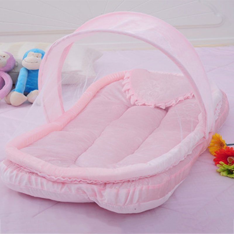 Baby Crib Netting for Newborns Portable Baby Cradle Bed with Pillow Infant Sleeping Bed Travel Folding Baby Bed Mosquito Net soft infant crib bed stroller toy spiral baby toys for newborns car seat hanging bebe bell educational rattle toy for gift