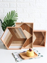 Wooden Serving Tray Fruit Cake/Break/Snack Tray Nordic Rectangular Tea Cup Home Light Luxury Coffee Tea Plate retro household rectangular tea fruit tray jewelry luxury resin mirror beauty salon spa essential oil tray serving trays