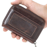 Fashion 100% Mens Wallet Genuine Leather ID Business Card Holder Travel Cardholder For Men mini Coin Purse Quality Card Bag