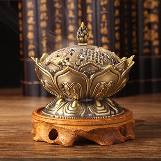 Bronze Incense Burner Lotus Shape