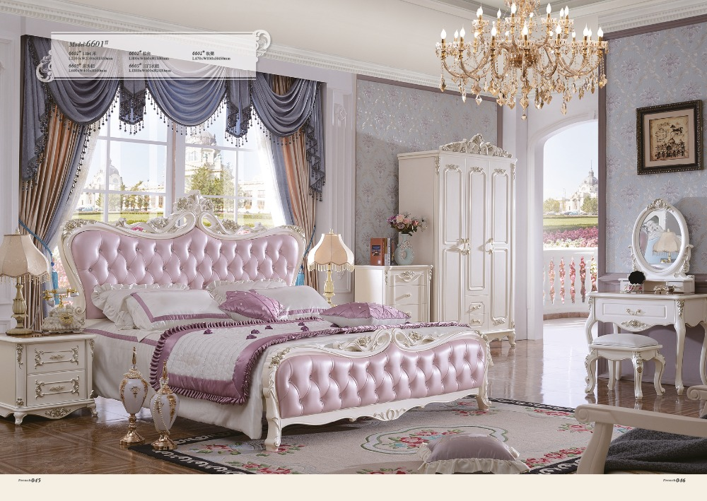 2016 Limited Hot Sale King Antique No Genuine Leather Cabecero Cama Muebles Para Casa Bedroom Furniture Carved Bed French