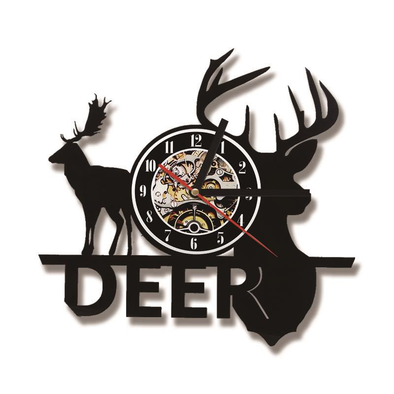 Creative Christmas Deer CD Record Clock Black Hollow Antlers Antique Style Hanging LED Wall Clock Unique Animal Art Design Clock
