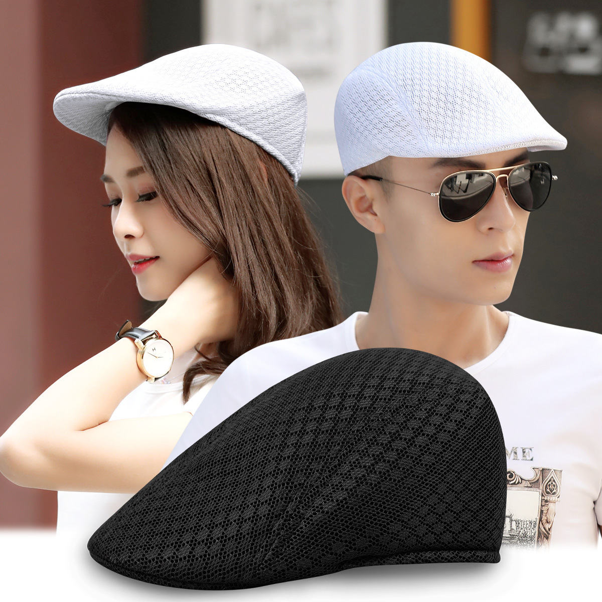 Beckyruiwu Beret-Hat Sun-Hats Mesh Ivy-Cap Fitted Male Women Summer Casual Solid Spring
